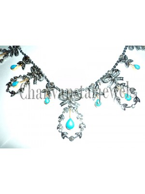 Wedding Gift Rose Cut Diamond Silver Turquoise Necklace