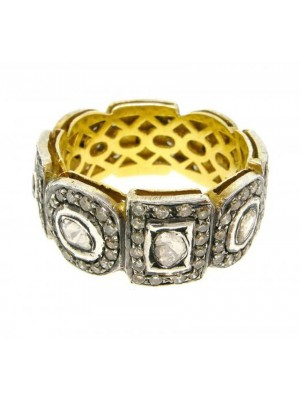 Mughal Era Rose Cut Diamond Polky Sterling Silver Band Ring