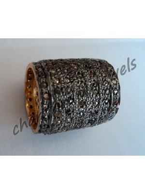 Pave Handmade Rose Cut Diamond Silver Wedding Band Ring