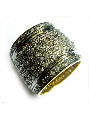Handcrafted Celebrity Rose Cut Diamond 925 Silver Band Ring