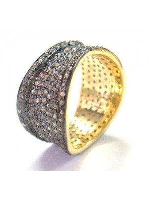 Classy Pave Rose Cut Diamond Sterling Silver Polki Band Ring