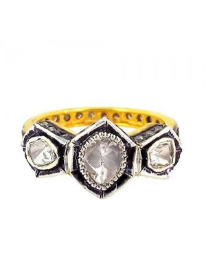 Polky Rose Cut Diamond 925 Sterling Silver Band Art Ring