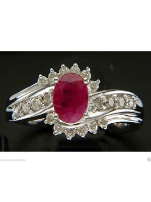 Designer Touch Natural Diamond 14K Gold Ruby Ring