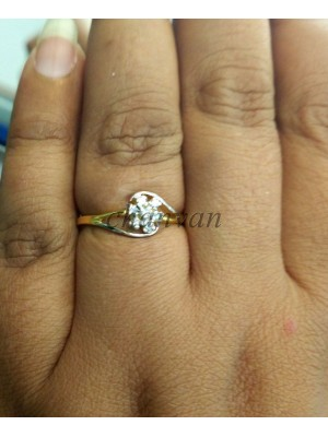 Cute Flower Real Diamond 14K Gold Engagement Ring
