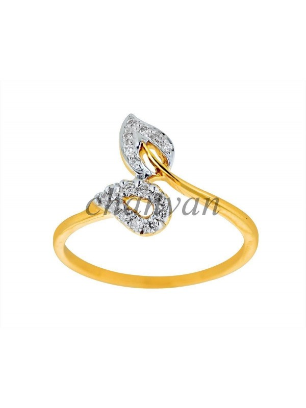 Beautifully Crafted Leaf Round Real Diamond 14K Gold Ring