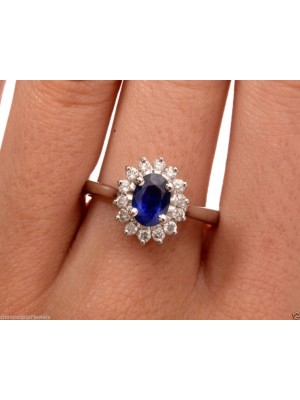 Engagement Natural Diamond Solid 14K Gold Sapphire Ring