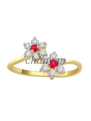 Love Mood Floral Real Diamond 14K Gold Ruby Ring