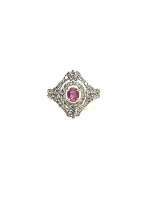 Bold Bride Diamond 14K Gold Ruby Cocktail Ring