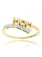 Beautifully Crafted For MOM Diamond 14K Yellow Gold Ring
