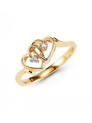 Heart of Two Natural Diamond 14K Yellow Gold Ring