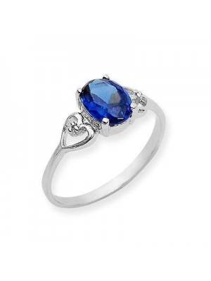Blue Oval Prong Silver Ring