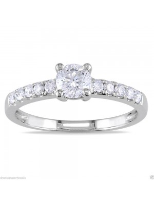 Solitaire With Accents Lab Diamond 925 Silver Ring