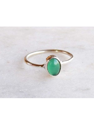 Green is Great Sterling Silver Women Oval Onyx Ring