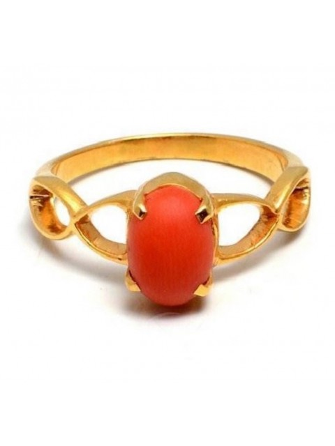 Gold Dipped Sizzling Silver Coral Eternity Ring