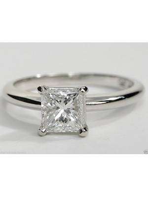 Princess Solitaire Lab Diamond Sterling Silver Ring