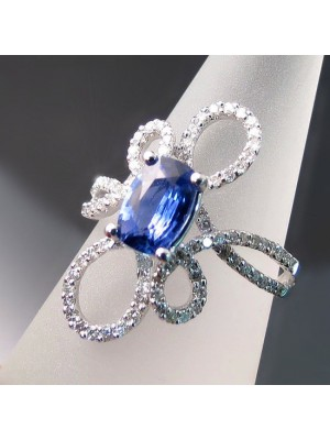 Good Curves Simulated Diamond 14K Gold Sapphire Ring
