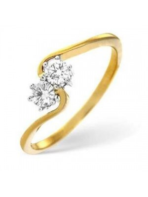 Two Stone Style Diamond Silver Crafted Ring