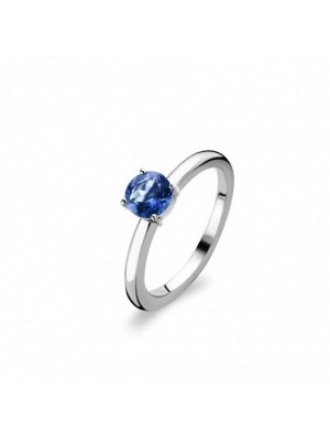 Prong Head 925 Sterling Silver Blue Stone Cute Ring