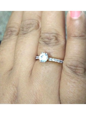 Solitaire with Accent Lab Diamond Silver Ring
