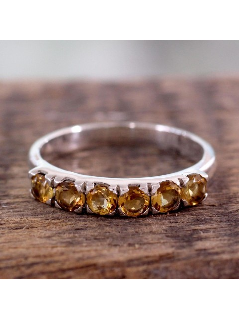 Follow your Dream Handmade 925 Silver Citrine Prong Ring