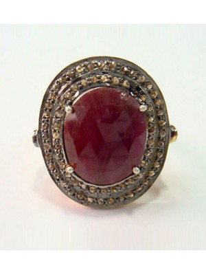 Art Deco Style Rose Cut Diamond Oxidized Silver Ruby Ring