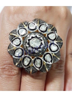 925 Silver Antique Look Rose Cut Diamond Polky Ring