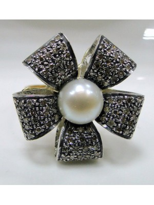 Victorian Style Pave Diamond 925 Silver Pearl Flower Ring
