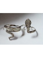 Double Finger Rose Cut Diamond Silver Snake Ring