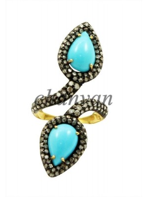 925 Silver Natural Rose Cut Diamond Turquoise Ring