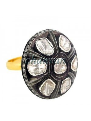 925 Silver Polky and Rose Cut Diamond Antique Style Ring