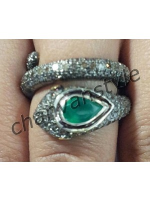 Antique Cut Diamond 925 Silver Emerald Snake Ring
