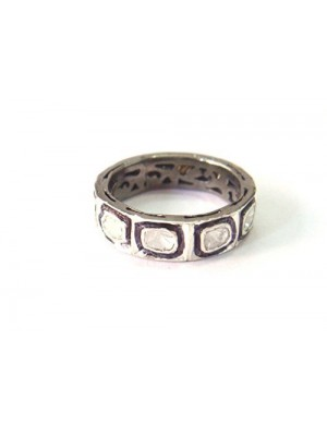 925 Oxidized Sterling Silver Polki Diamond Band Ring