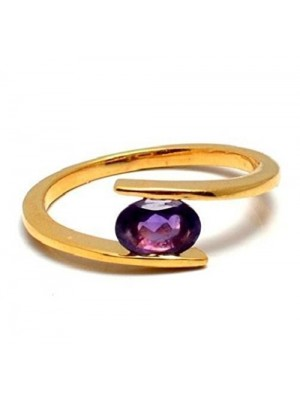Gold Dipped Silver Amethyst Ring