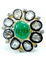 Go Green Rose Cut Diamond 925 Silver Emerald Polki Ring