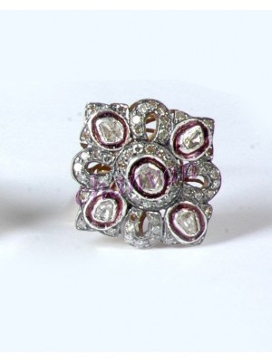 Ancient Style Rose Cut Diamond Sterling Silver Polky Ring