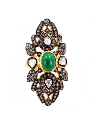 925 Silver Rose Cut Diamond Polky Emerald Statement Ring