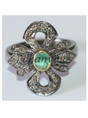 925 Silver Rose Cut Diamond Emerald Antique Inspire Ring