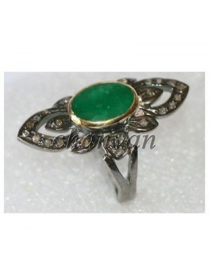 Antique Style Rose Cut Diamond 925 Silver Emerald Ring