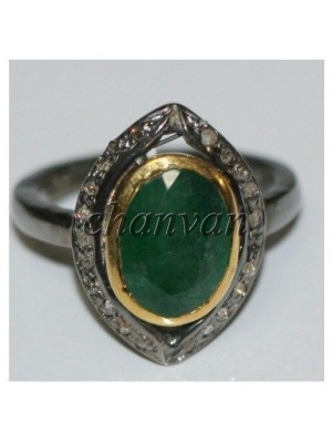 Artisan Rose Cut Diamond Sterling Silver Emerald Ring
