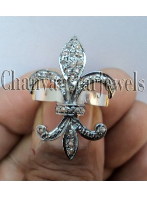 925 Silver French Symbol Antique Rose Cut Diamond Ring