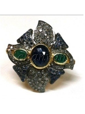 Antique Cut Diamond 925 Silver Emerald Sapphire Ring