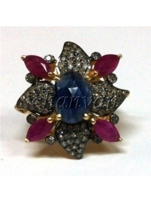 925 Silver Antique Style RoseCut Diamond Pave Colorful Ring