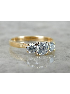 Solitaire Feel Solid 10K Yellow Gold Lab Diamond Ring