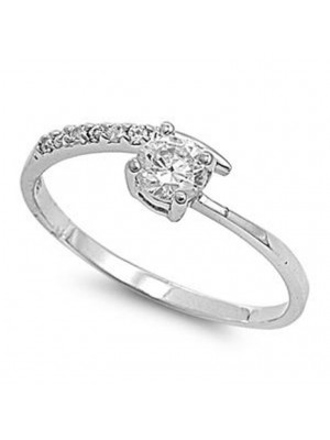 Round Solitaire Simulated Diamond Solid 14K Gold Ring