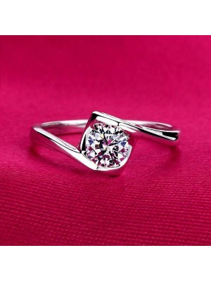 Designer Solitaire Look Lab Diamond Solid 10K Gold Wedding Ring