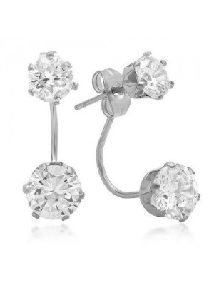 Engagement Solitaire Lab Diamond Solid 14K Gold Earring