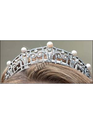 Magical Pearl Rose Cut Diamond Sterling Silver Tiara Royal Crown
