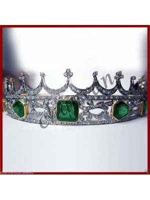 Royal Story 925 Silver Rose Cut Diamond Emerald Wedding Tiara