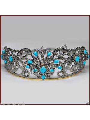 Astonishing Rose Cut Diamond 925 Silver Turquoise Tiara Crown