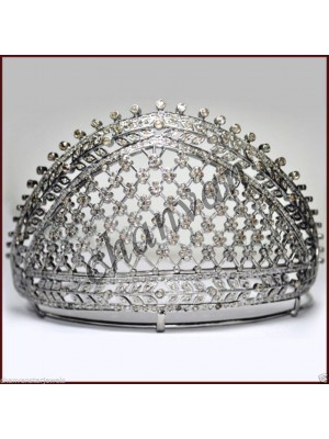 Eye Catching Rose Cut Diamond 925 Silver Tiara Crown